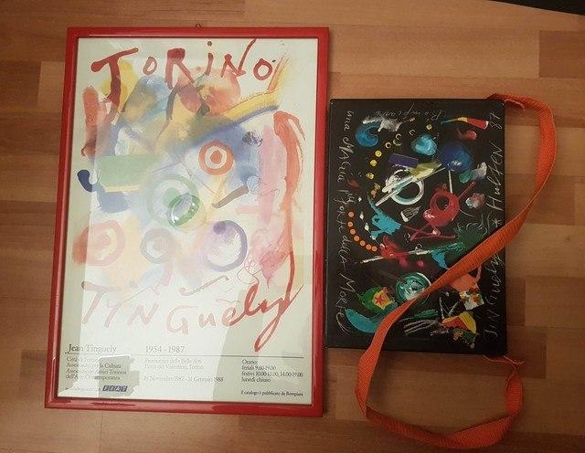 cover Jean Tinguely, Una magia più forte della morte + manifesto mostra Torino